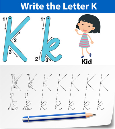 Letter K tracing alphabet worksheets illustration Vettoriali