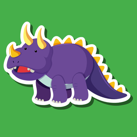 A triceratops sticker character illustration