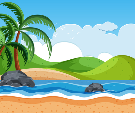 beautiful beach background scene illustration