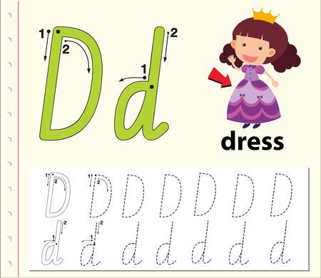 Letter D tracing alphabet worksheets illustration