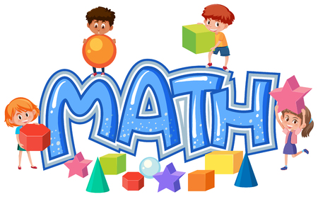 Group of children on math icon illustration