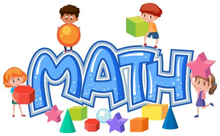 Grupo de niños en la ilustración del icono de matemáticas Ilustración de vector