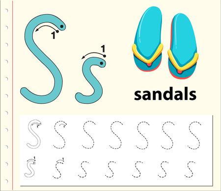 Letter S tracing alphabet worksheets illustration