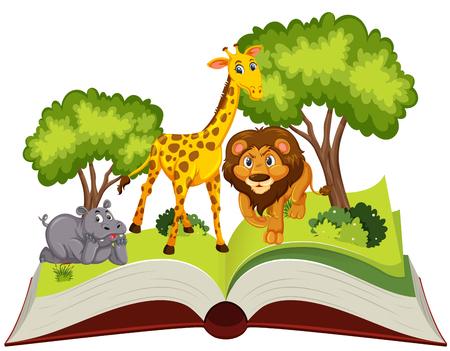 Pop up book animal theme illustration Vector Illustratie