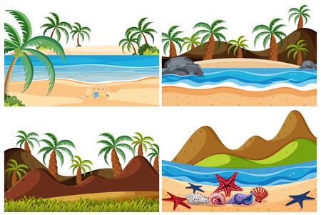 Set of beach landscape illustration