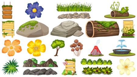 Set of ornamental plants illustration Ilustração Vetorial