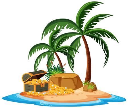 Un'isola del tesoro su sfondo bianco illustrazione