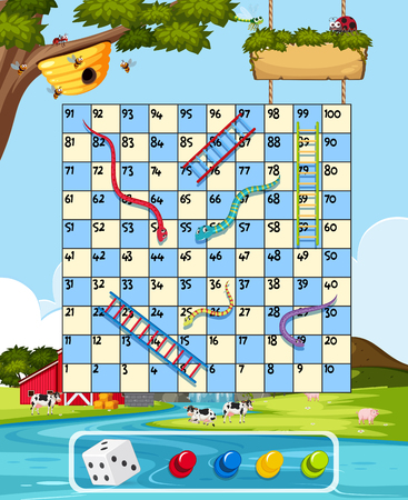 Farm snake ladder game template illustration