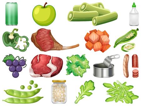 Satz gesunde Lebensmittelillustration