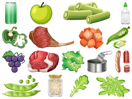Set of healthy food illustration