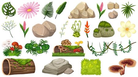 Satz von Naturobjekten Illustration Vektorgrafik