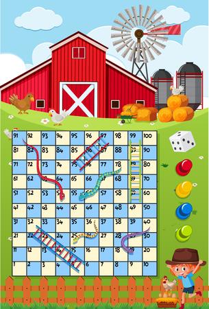 A snake ladder game template illustration