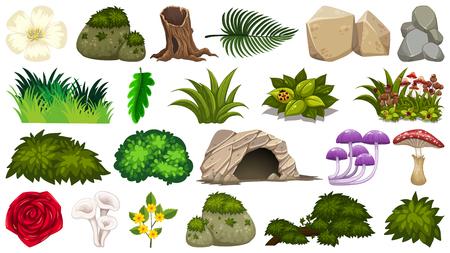 Set of nature objects illustration