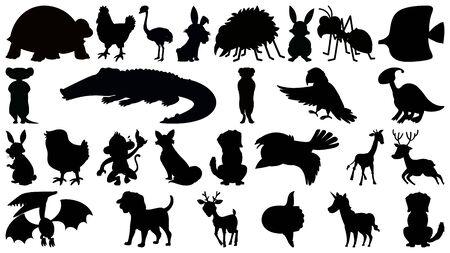 Set of silhouette animal illustration Illustration