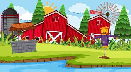 Ilustración de escena de granja de granero rojo