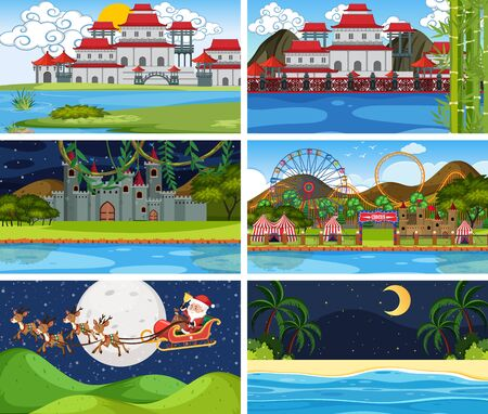Set of different background scenes illustration