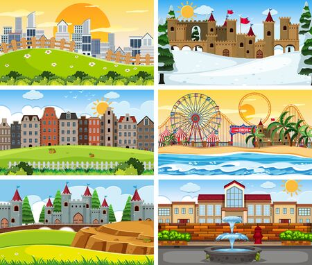 Large set of different scenes illustration Illustration