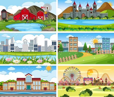 Set outdoor background scenes illustration