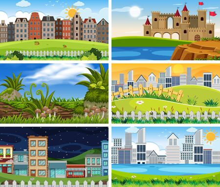 Set of different scenes illustration