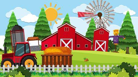 Tractor on farm scene illustration