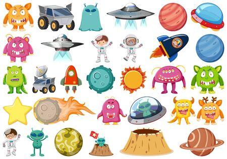 Set of isolated objects theme - space illustration Illustration