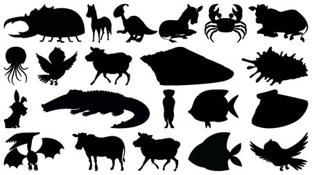 Set of silhouette wild animals illustration