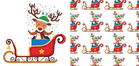 A seamless pattern on white of festive reindeers illustration