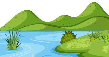 Fondo de paisaje con ilustración de montaña y río verde Ilustración de vector