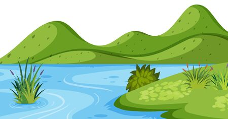 Landscape background with green mountain and river illustration Иллюстрация