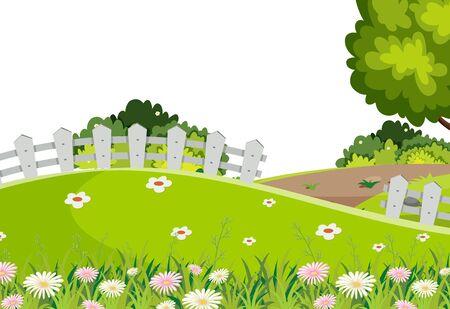 Scenery background of grreen grass on hill illustration 写真素材 - 127929701