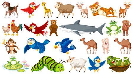 Set of many wild animals illustration