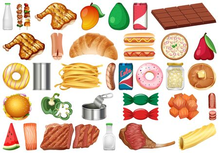 Set of isolated objects theme - food illustration