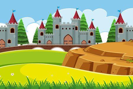 Eine Außenszene mit Schlossillustration