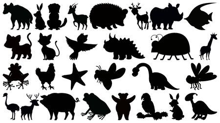 Set of sihouette isolated objects theme - animals illustration