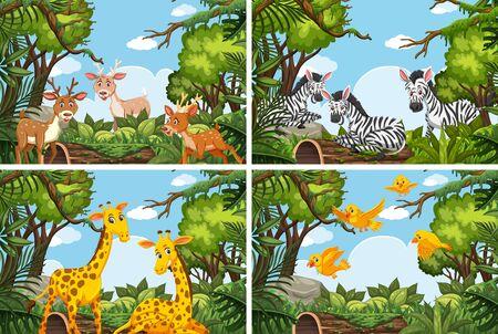 Set of various animals in nature scenes illustration