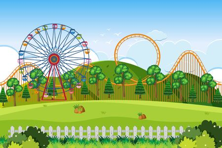 An outdoor scene with amusement park illustration