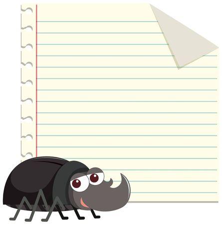 Plantilla de diseño de marco con linda ilustración de escarabajo