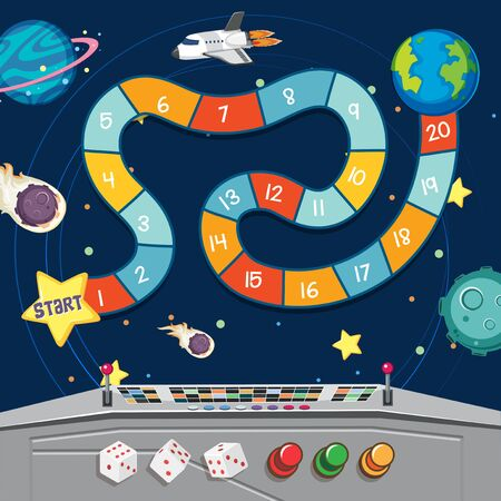 Boardgame with earth and planets in space illustration