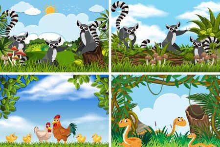 Conjunto de varios animales en la ilustración de escenas de la naturaleza.