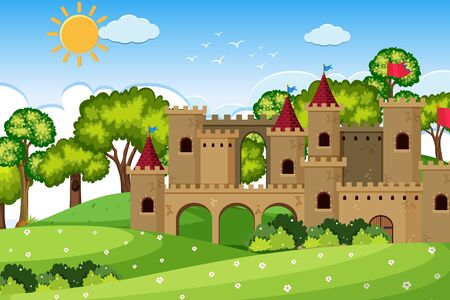 An outdoor scene with castle illustration