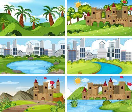 Un ensemble de scènes en plein air, y compris l'illustration du bâtiment