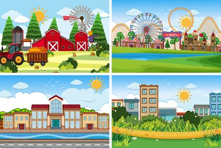 A set of outdoor scene including farmland illustration