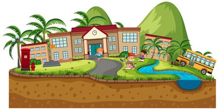 Background scene of school buildings illustration