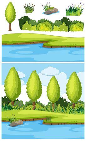 Nature landscape of park and river illustration Stock Illustratie