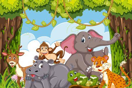 Animaux de la jungle dans une forêt claring illustration