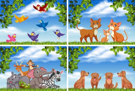 Set of various animals in nature scenes illustration