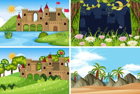 A set of outdoor scene including castle illustration