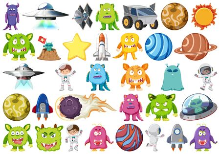 Set of isolated objects theme - planets and aliens illustration