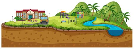 Background scene of school with playground illustration