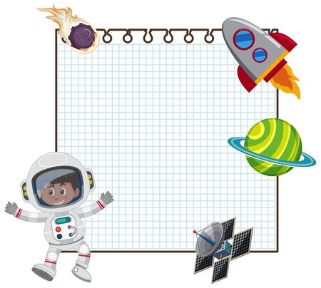 Frame design template with astronaut and spaceship illustration Stock Illustratie